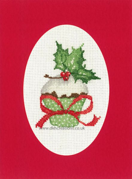 Sue Hill Christmas Cupcake Greeting Card Red Cross Stitch Kit
